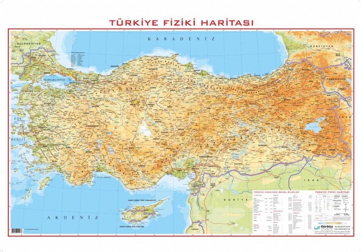 Türkiye Fiziki Haritası 70x100 Gürbüz Yayınları