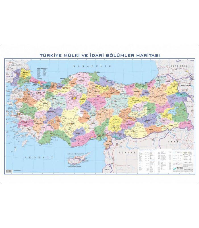 Türkiye Siyasi Haritası 70x100 Gürbüz Yayınları