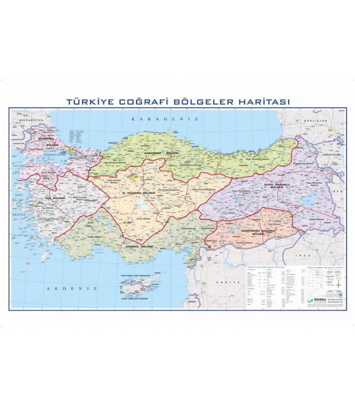 Türkiye Coğrafi Bölgeler Haritası 100x140 Gürbüz Yayınları