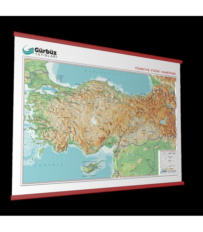 Kabartma Türkiye Fiziki Haritası 70x100 Gürbüz Yayınları