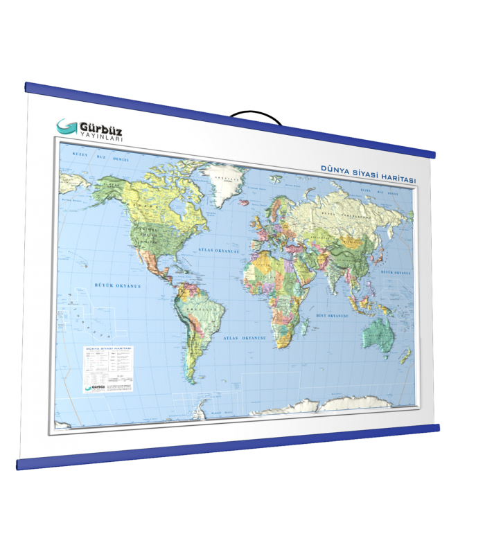 Kabartma Dünya Siyasi Haritası 70x100 Gürbüz Yayınları