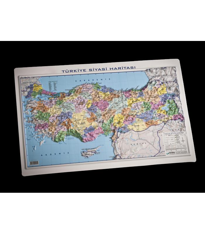 Kabartma Türkiye Siyasi Haritası 35x50 Gürbüz Yayınları