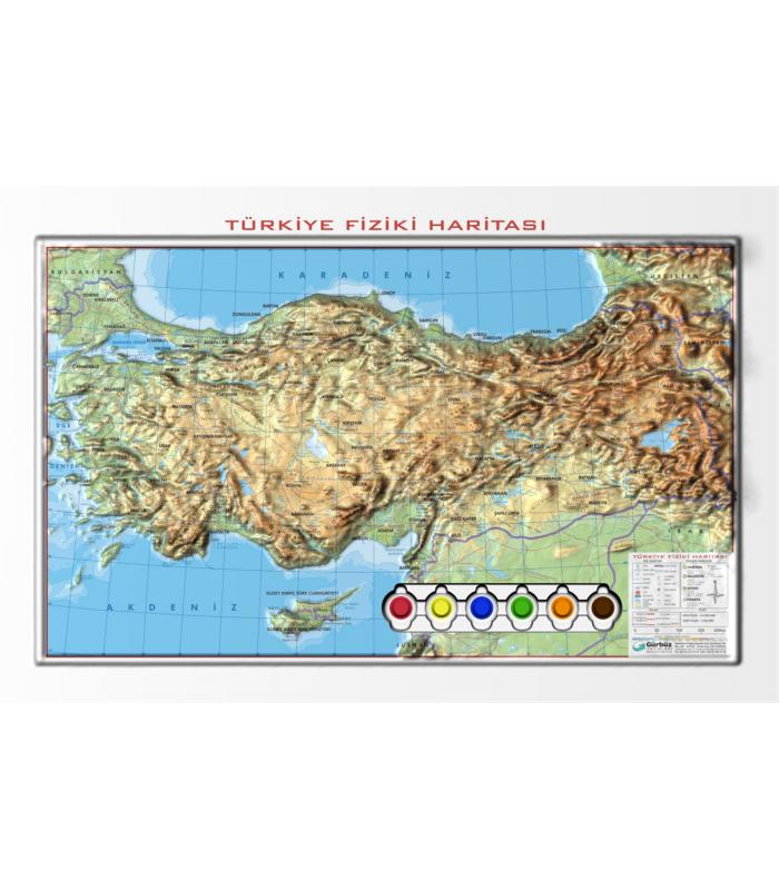 Kabartma Yap Boy Türkiye Fiziki Haritası 35x50 Gürbüz Yayınları