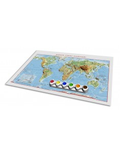Kabartma YAP - BOY Dünya Fiziki Haritası (35x50) - Gürbüz Yayınları