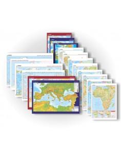 Dünya Coğrafyası 16'lı Harita Seti (70x100) - Gürbüz Yayınları