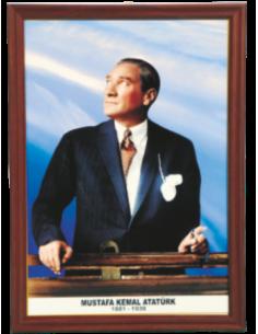 Atatürk Portresi (MDF - Alüminyum - Özel Çerçeve)
