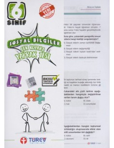 Türev Yayınları 6.Sınıf Sosyal Bilgiler Çek-Kopart Yaprak Test
