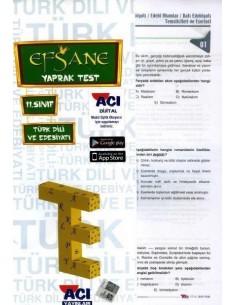 Açı 11.Sınıf Türk Dili ve Edebiyatı Efsane Yaprak Test