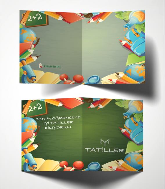 Kitapbilgini Okul Gereçleri Temalı Karne Kılıfı