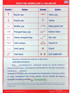 Düzeltme Sembolleri Levhası (50 x 70 cm) - Kocaoluk Yayınları