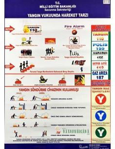 Yangın Vukuunda Hareket Tarzı Levhası (50 x 70 cm) - Kocaoluk Yayınları