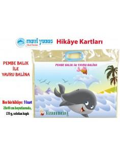 Mavi Yunus Pembe Balık ile Yavru Balina Hikaye Kartları (3-4-5 Yaş)