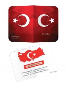 Kitapbilgini Türk Bayraklı Karne Kılıfı