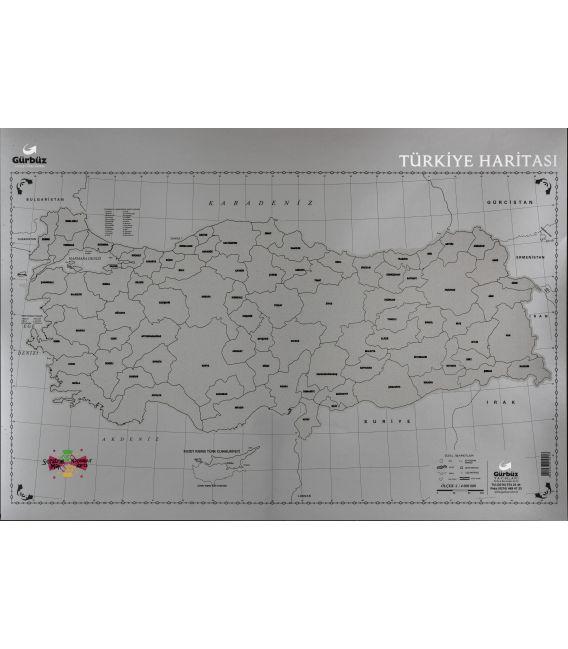 Kazınabilir Türkiye Haritası (35x50 cm) - Gürbüz Yayınları