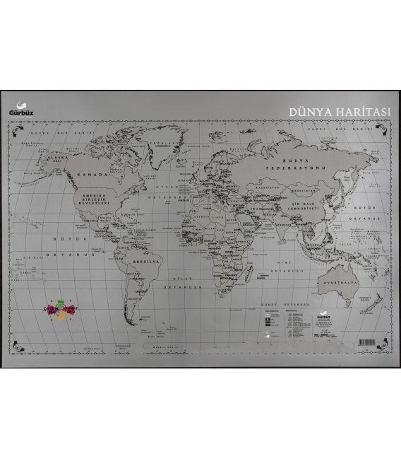 Kazınabilir Dünya Haritası (35x50 cm) - Gürbüz Yayınları