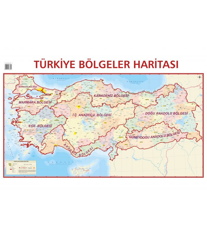 Turkiye Bolgeler Haritasi 70x100 Mepmedya Yayinlari