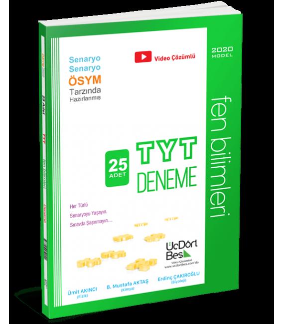 ÜçDörtBeş Yayınları TYT Fen Bilimleri 25 Deneme 2020 Model