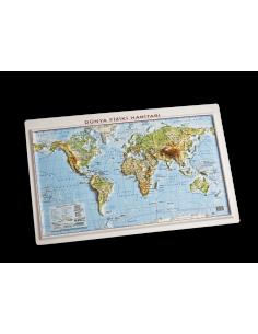 Kabartma Dünya Fiziki Haritası (35x50) - Gürbüz Yayınları