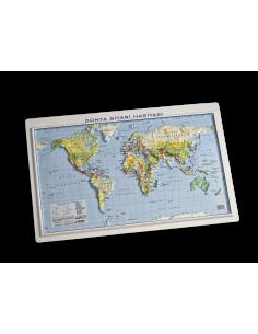 Kabartma Dünya Siyasi Fiziki Haritası (35x50) - Gürbüz Yayınları