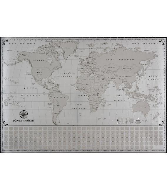 Kazınabilir Dünya Haritası (70x100 cm) - Gürbüz Yayınları