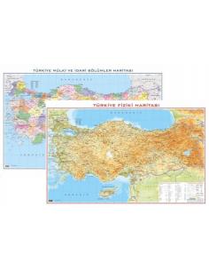 Gürbüz Yayınları Türkiye Fiziki+Siyasi Haritası Çift Taraflı