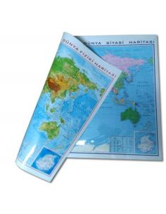 Gürbüz Yayınları Dünya Fiziki+Siyasi Haritası Çift Taraflı