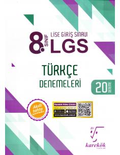 Karekök Yayınları 8.Sınıf LGS Türkçe 20'li Deneme Sınavı