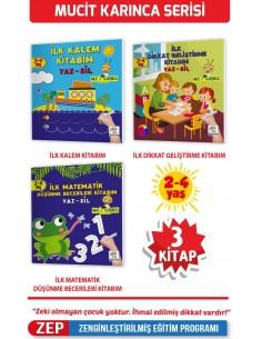 2-4 Yaş Karınca YAZ-SİL Kitaplar (İlk Kalem, Çizim, Eğlenceli Labirentler, Görsel Dikkat Geliştirme Kitabım)